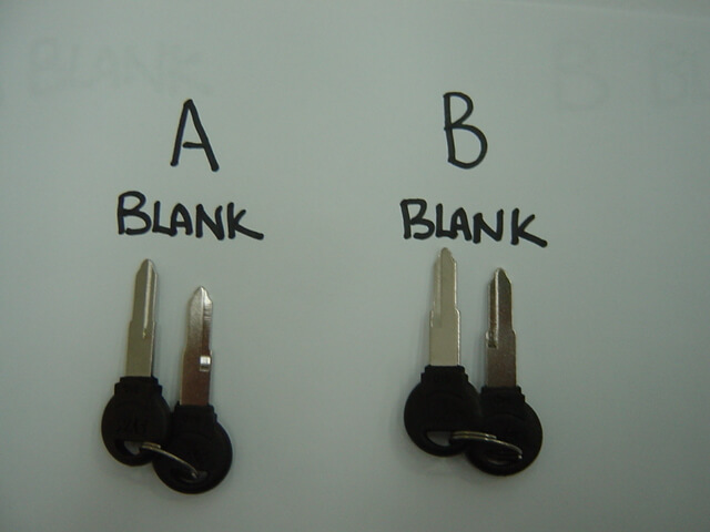 SYM KEY BLANKS A B DIFFERENTIATION