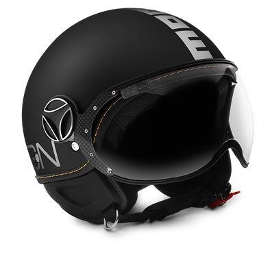 MOMO FGTR Evo Black Matt Logo White Helmet