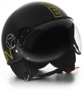 MOMO FGTR Helmet Black Gloss Outline Yellow