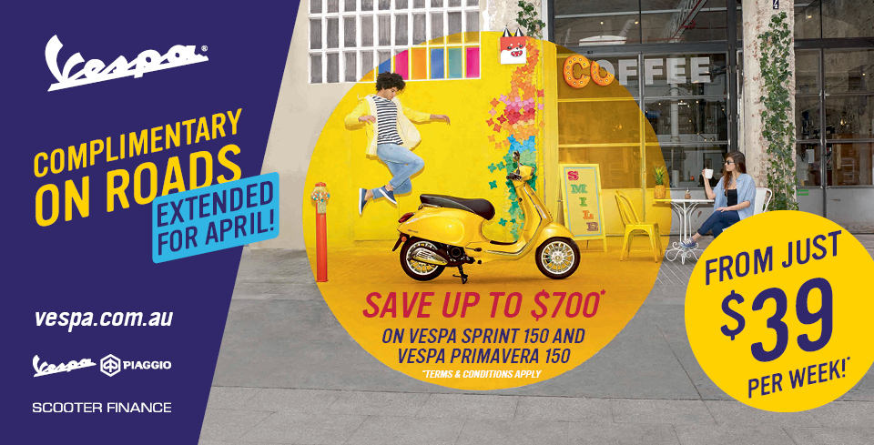 Vespa Free Rego Offer Extended!