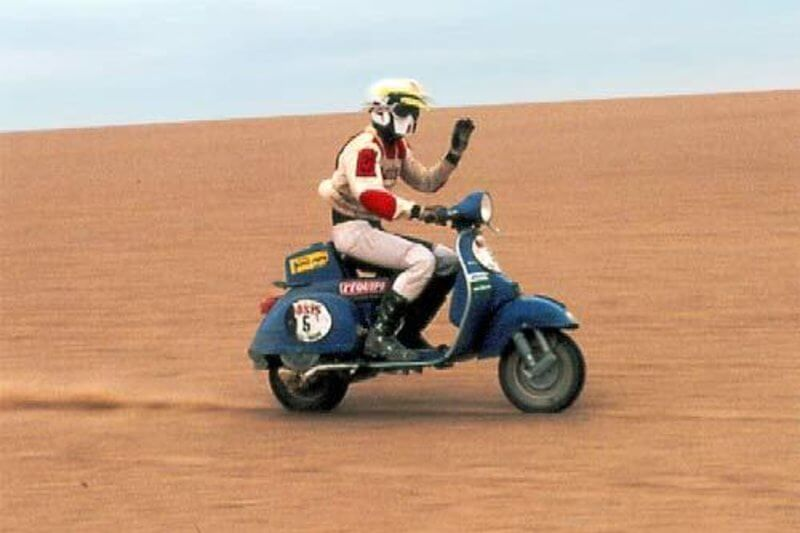Yvan Tcherniavsky on a Vespa P200E in 1980's race © Rallye Dakar