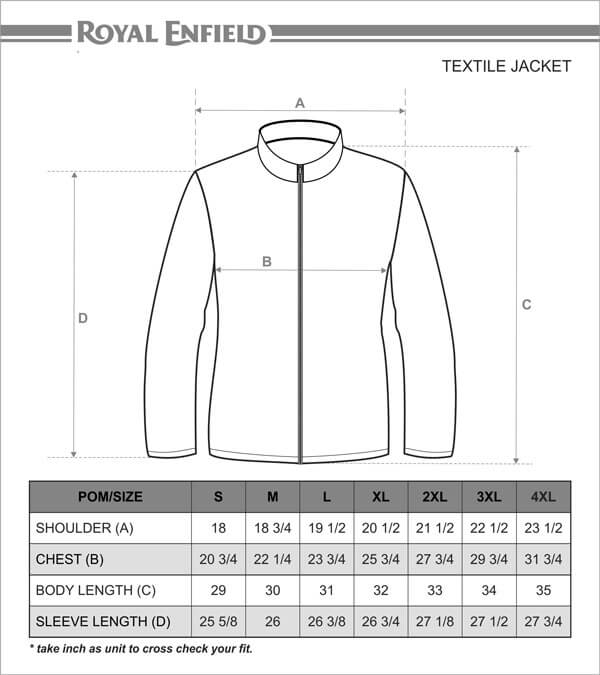 Royal Enfield Coated Field Jacket Size Chart