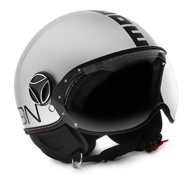 MOMO FGTR Evo White Quartz Logo Black Helmet