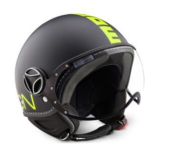 MOMO FGTR Fluo Frost Black Fluo Yellow Decal Helmet