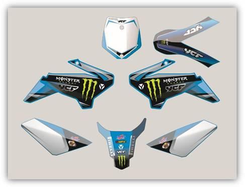 Plastic Kit YCF 50 Sky Blue Monster Graphics