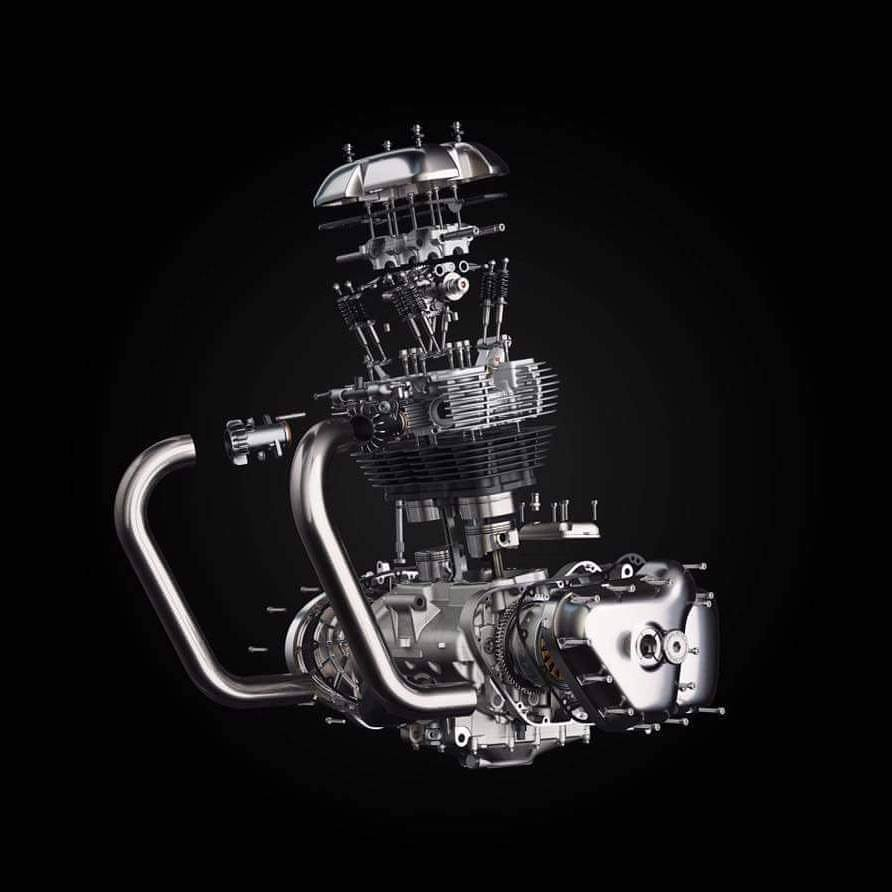 The all-new 650cc Twin from Royal Enfield:  47BHP, 53 NM, 270 degree crank, 8 valves with SOHC.