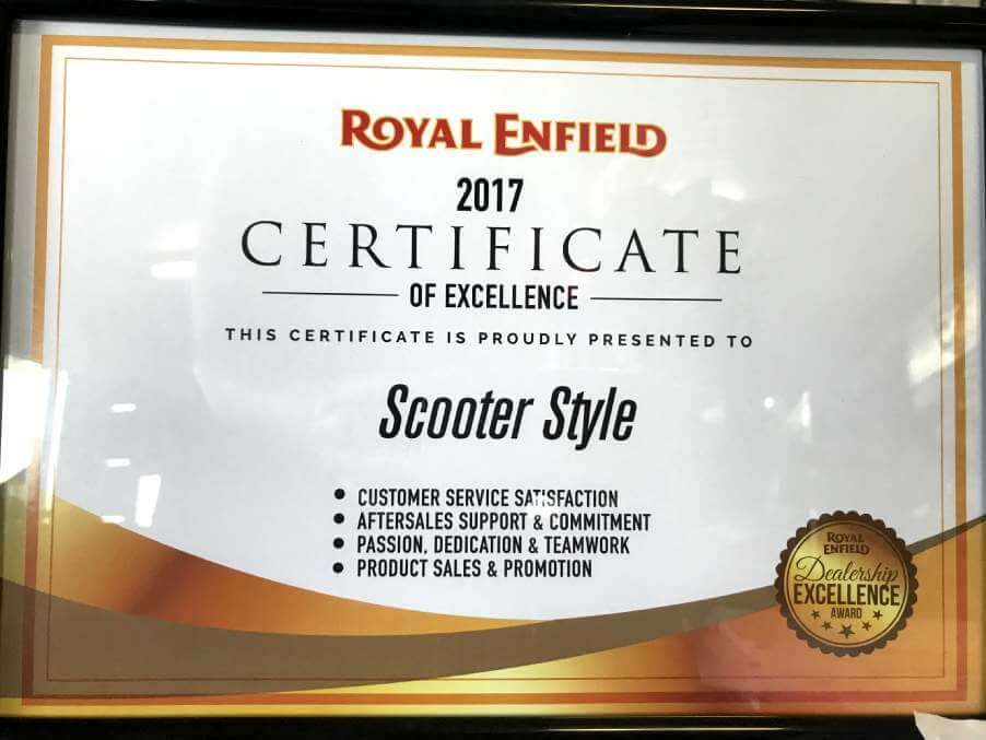 Royal Enfield Award for Dealer Excellence 2017 Certificate