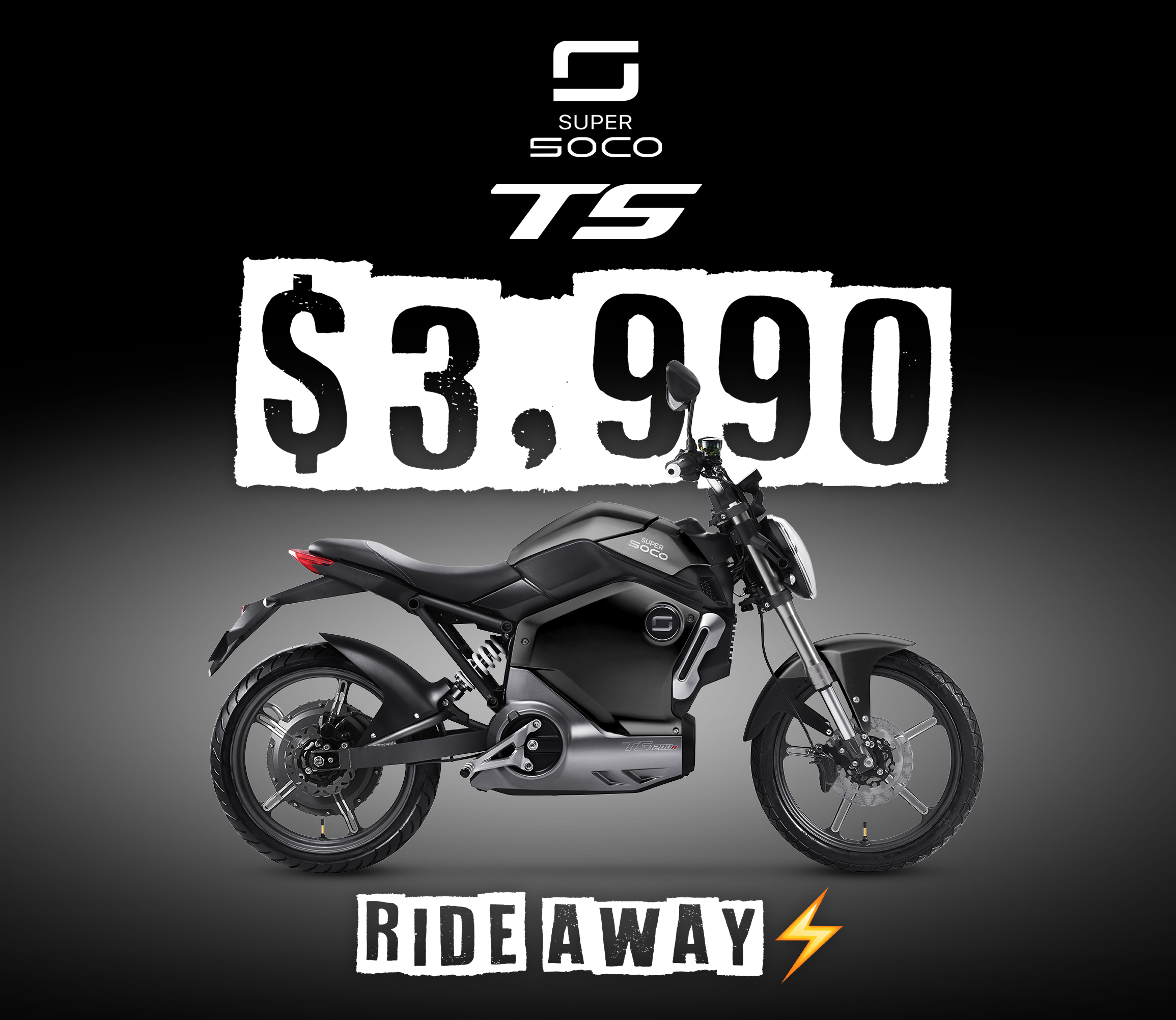 Super Soco TS - $3,990 Ride away! Ride electric for $3,990 ride away.